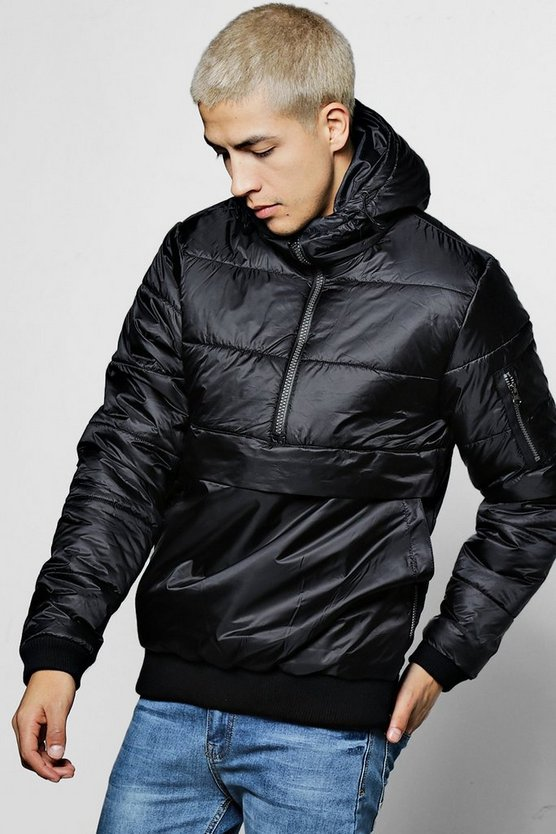 Hooded Half Zip Quilted Jacket