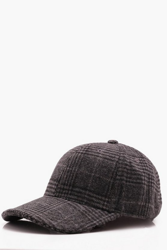 Grey Wool Check Cap