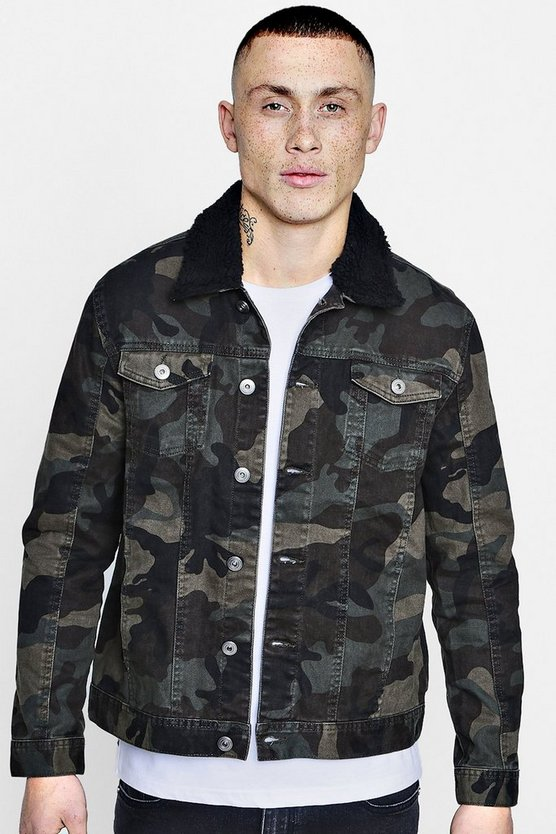Camo Denim Jacket With Borg Collar
