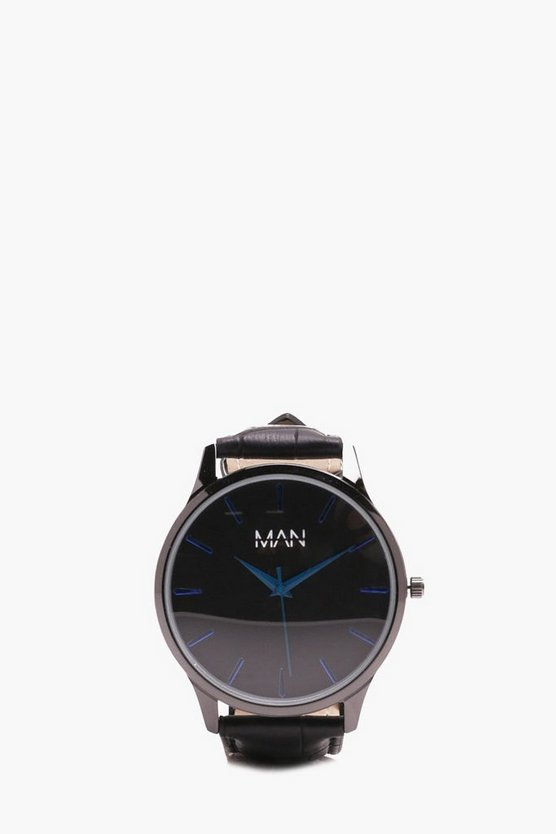 MAN Monochrome Watch With Blue Details