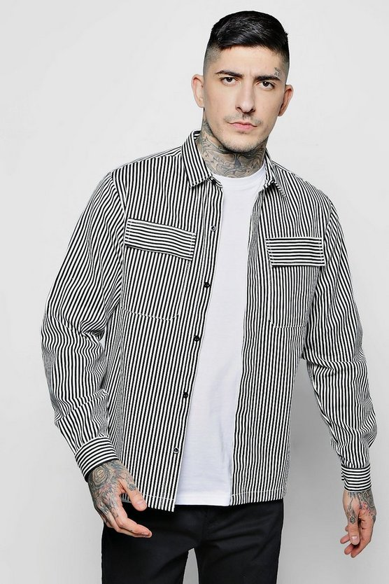 Stripe Twill Shacket