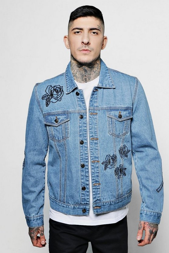 Rose Embroidered Denim Western Jacket