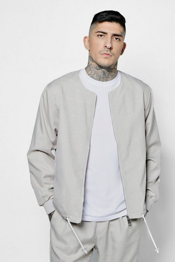 Collarless Woven Coach Jacket