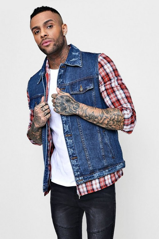 Distressed Oversized Sleeveless Denim Jacket