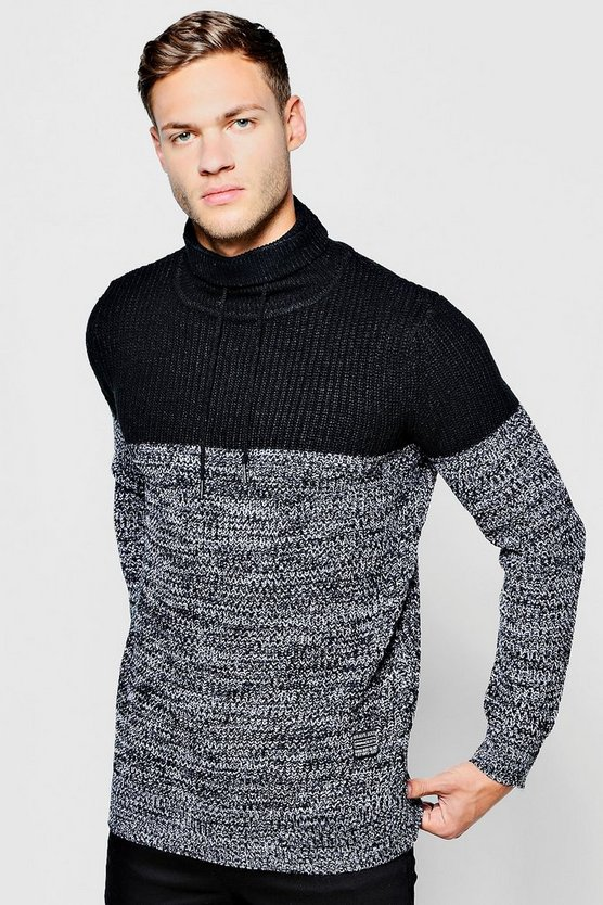 Contrast Rib Knit With Drawcords
