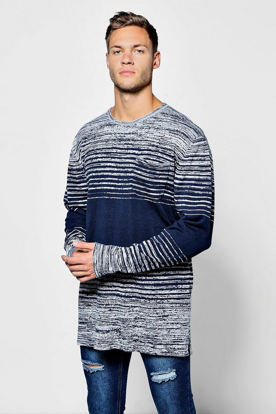 Space Dye Stripe Jumper With Pocket