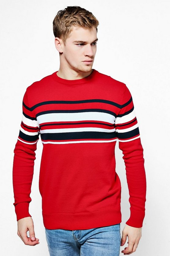Colour Block Stripe Knitted Jumper