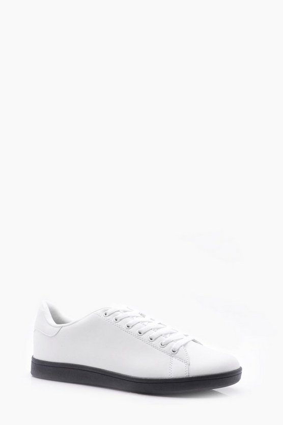 White Lace Up Trainer with Black Sole