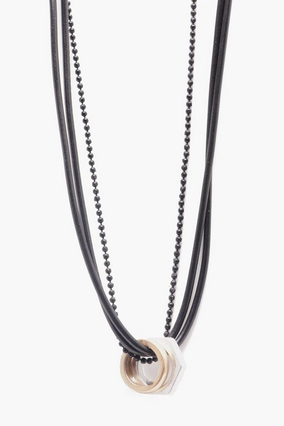 Triple Layer Necklace With Mixed Metal Detail