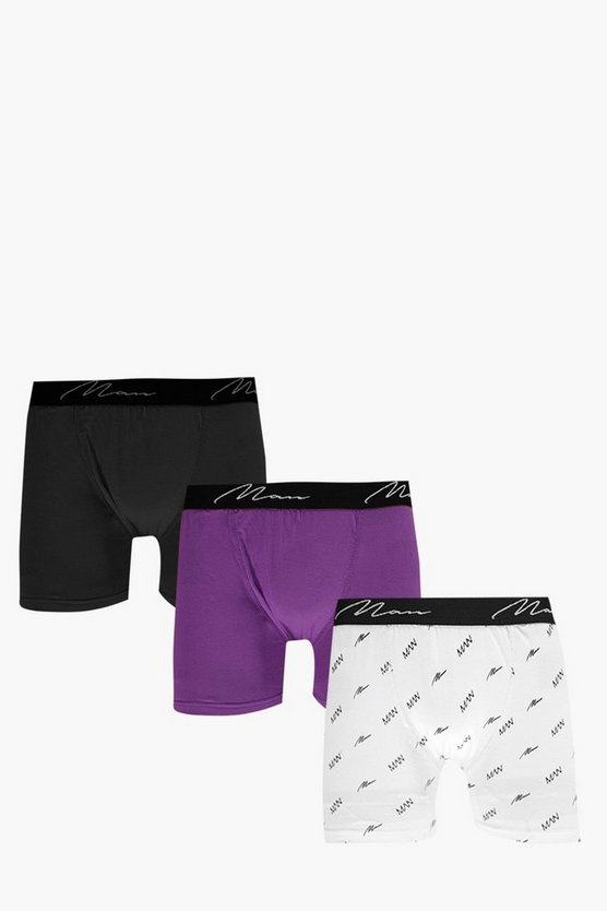 3 Pack All Over MAN Logo Trunks