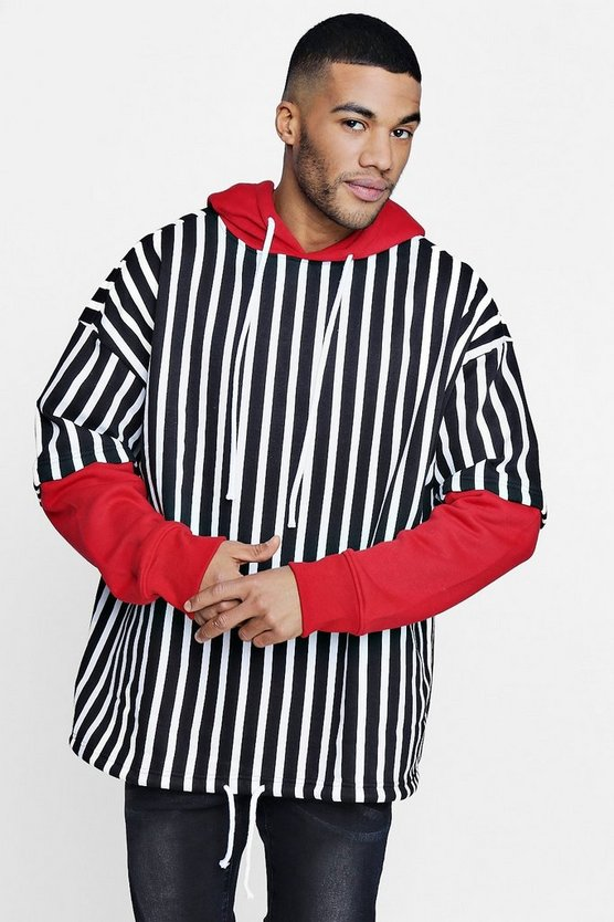 Faux Layer Striped Hoodie