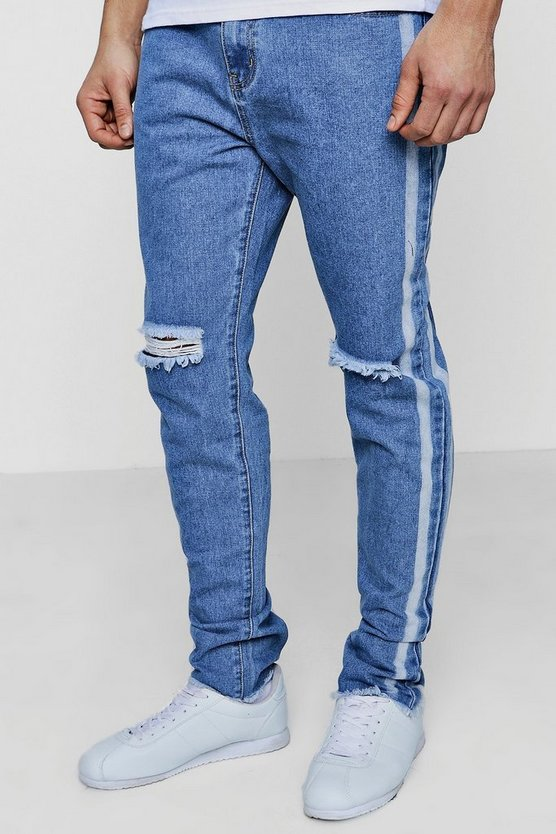 Slim Fit Jeans With Bleached Side Stripe