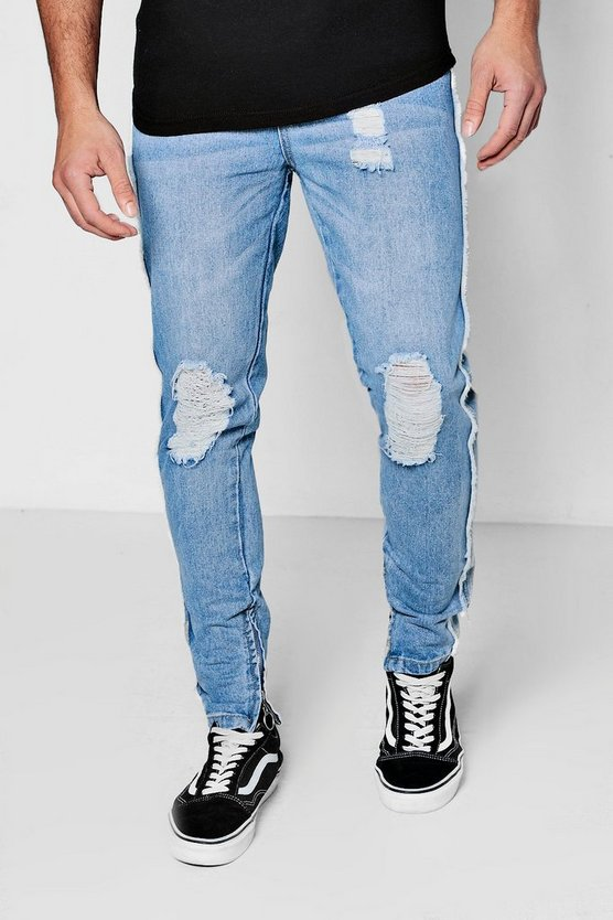 Skinny Fit Jeans With Zip Hem And Raw Seam
