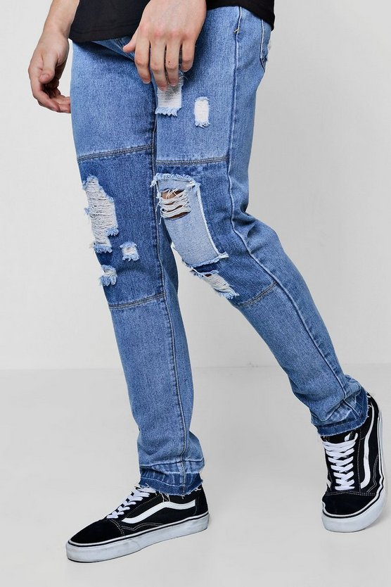 Slim Fit Cut And Sew Cropped Panelled Jeans