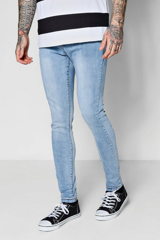 Pale Blue Spray On Skinny Jeans