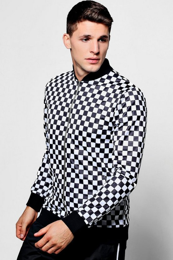 Checkerboard Tricot Bomber Jacket