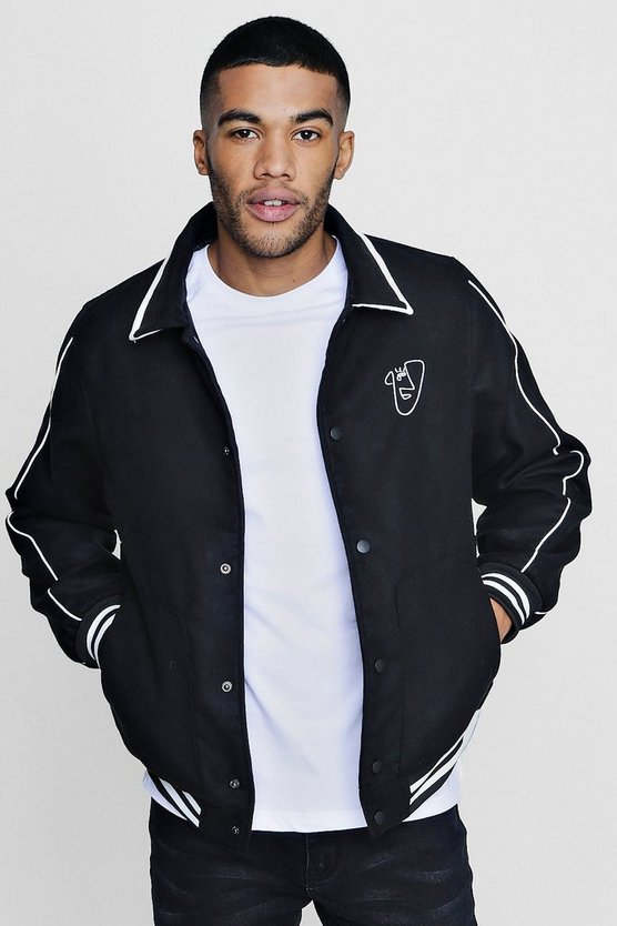 TYGA Embroidered Harrington with Piping