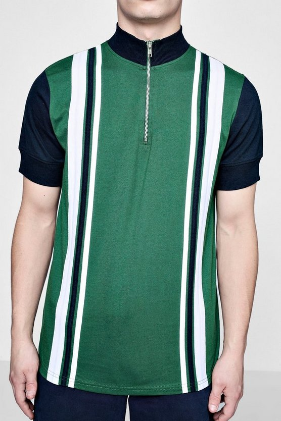 Vertical Stripe Funnel Zipper Polo