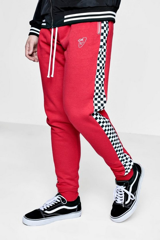 TYGA Skinny Fit Checkerboard Panel Joggers