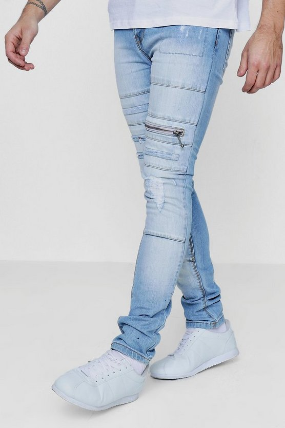 Spray On Skinny Jeans with Zips & Distressing