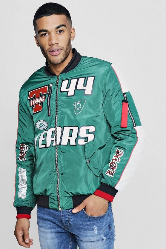 TYGA Printed Colour Block Bomber