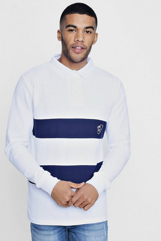 TYGA Long Sleeve Stripe Polo in Pique