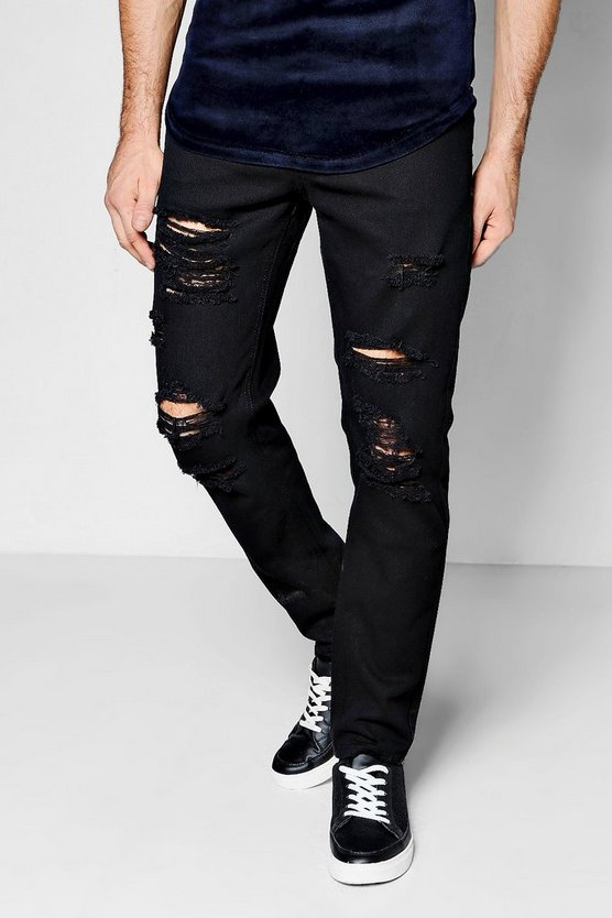 Slim Fit Black Jeans with All Over Rips