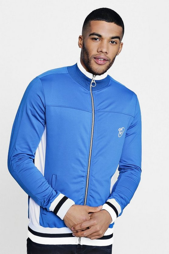 Poly Tricot Track Top with Sports Rib