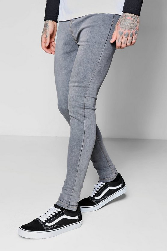 Pale Grey Spray On Skinny Jeans