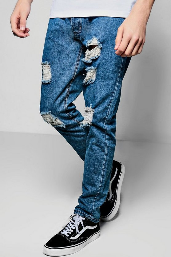 Slim Fit Jeans With Ripped Knees
