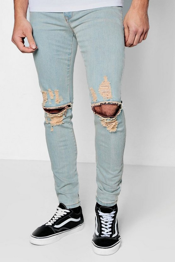 Super Skinny Jeans With Ripped Knee Detailing