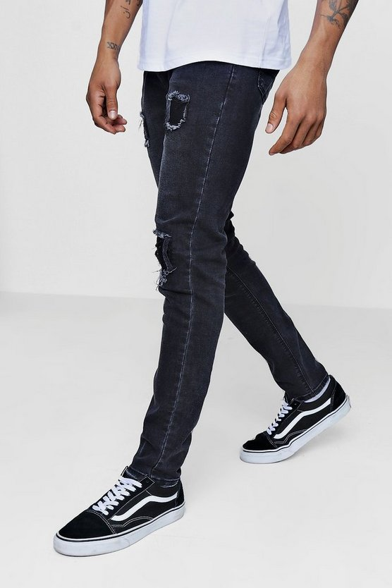 Skinny Fit Jeans With Patchwork Repairing