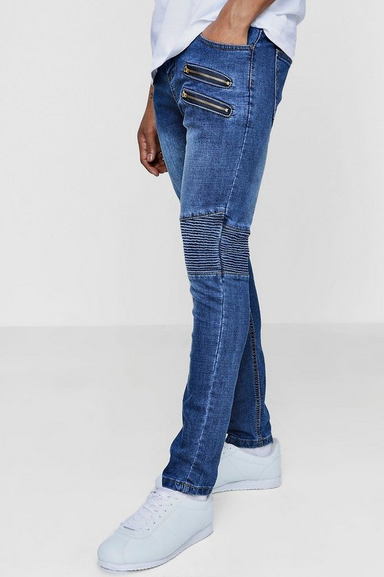Super Skinny Mixed Panel Biker Jeans