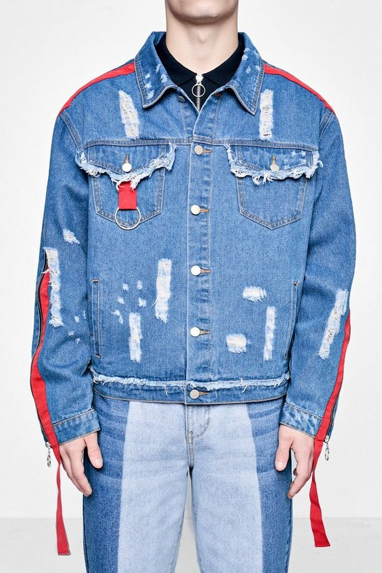 Zip and Tape Detail Distressed Denim Jacket