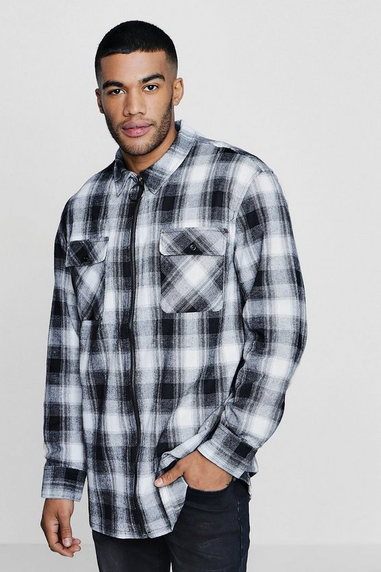 Oversized Mono Check Zip Shacket