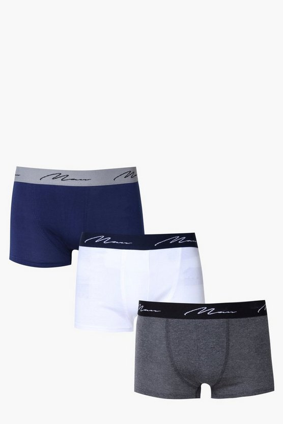 3 Pack MAN Trunks With Contrast Waist Band