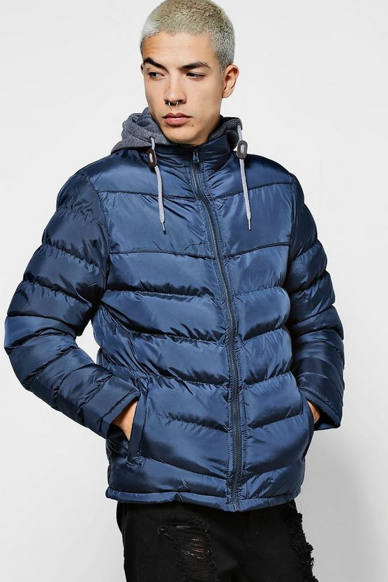 Jersey Hooded Quilted Jacket
