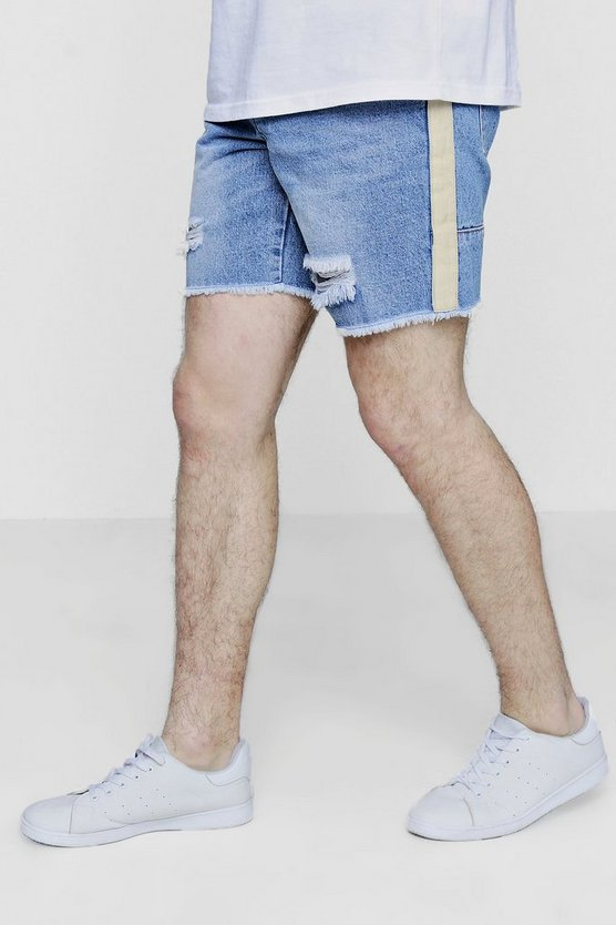 Loose Fit Skater Denim Shorts with Taping
