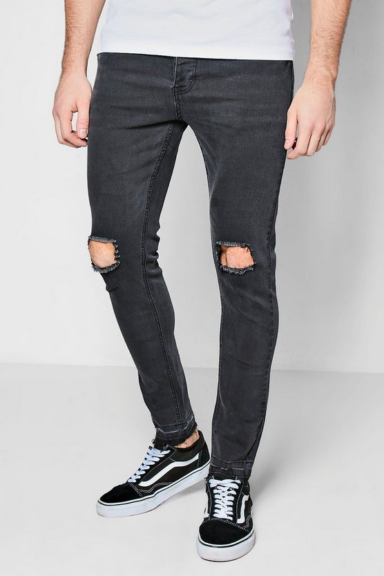 Skinny Fit Jeans with Distressed Knee and Hem
