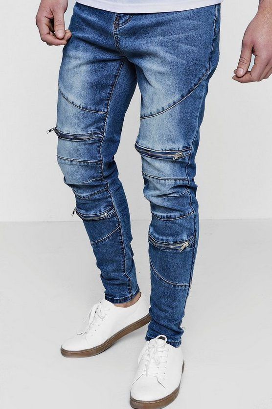 Skinny Fit Jeans with Zipped Biker Panelling