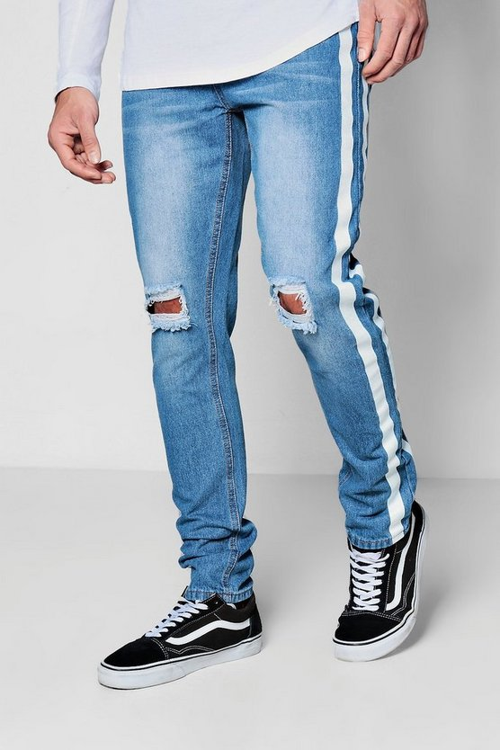 Skinny Fit Jeans w/ Ripped Knees & Print Stripe