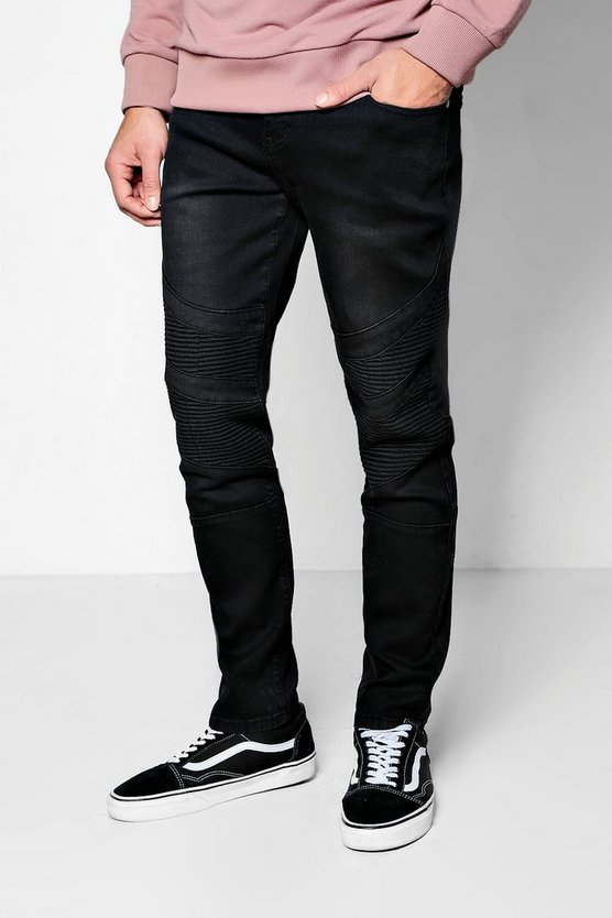 Slim Fit Jeans with Biker Panelling