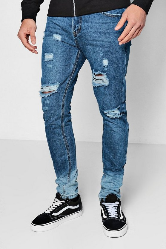 Skinny Fit Distressed Jeans With Ombre Hem