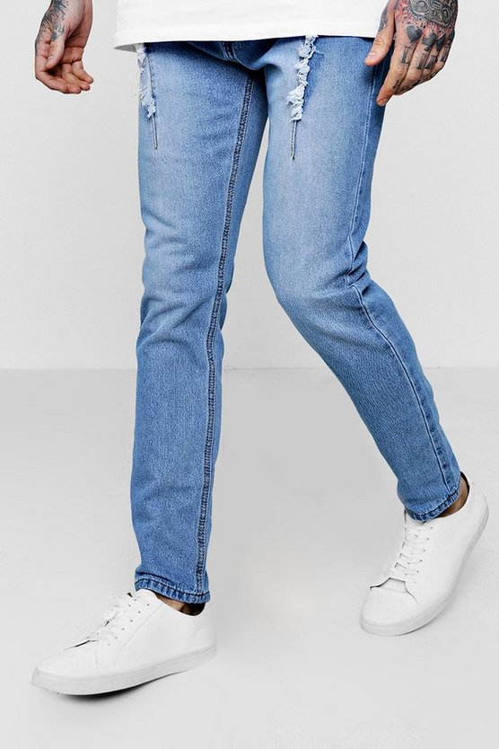 Distressed Pin Tuck Detail Skinny Fit Jeans