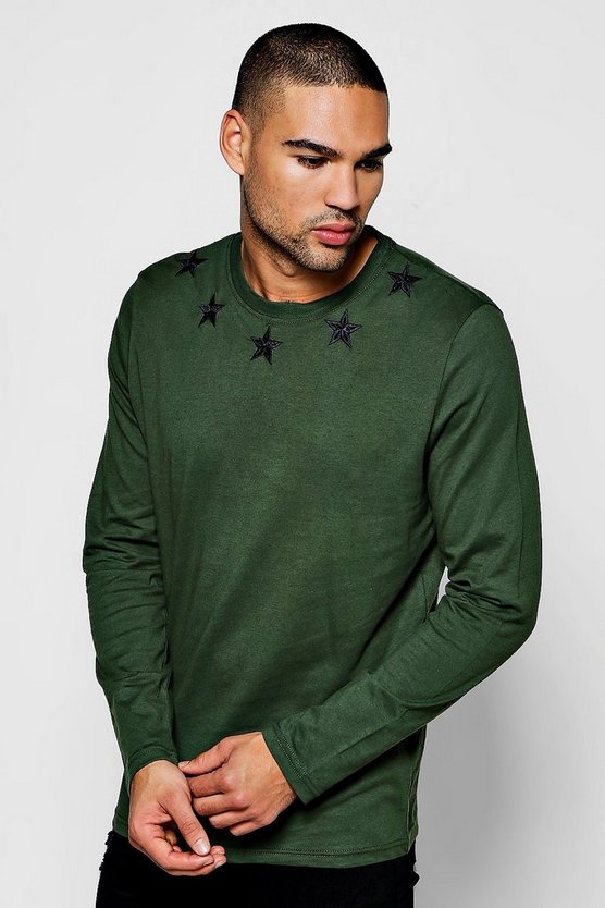 Long Sleeve Star Embroidered T-Shirt