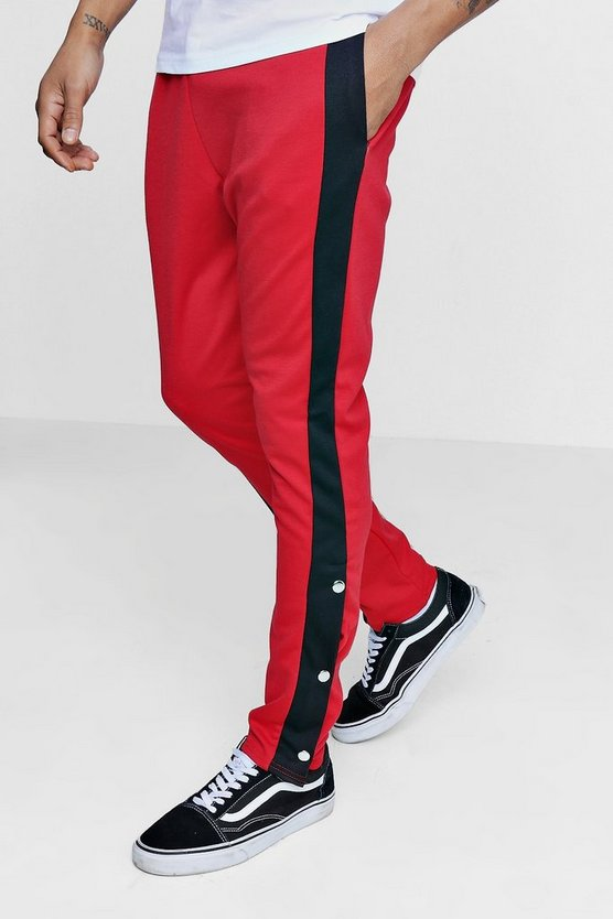 Skinny Fit Panel Joggers With Poppers