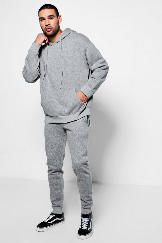 Oversized Hoodie And Jogger Set In Marl