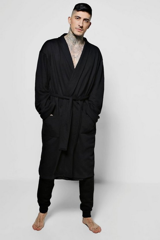 Black Jersey Dressing Gown And Jogger Set