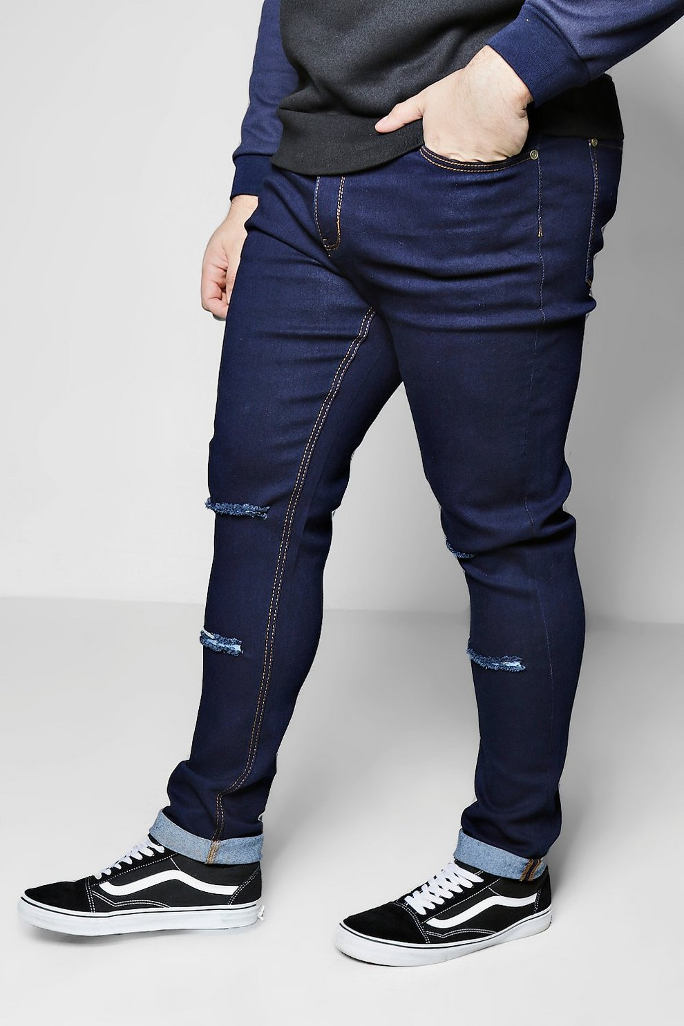 Boohoo Big And Tall Skinny Fit Double Rip Knee Jeans Pre Order Online Really For Sale Under 70 Dollars Shopping Online Outlet Sale Discount Marketable CuSsc