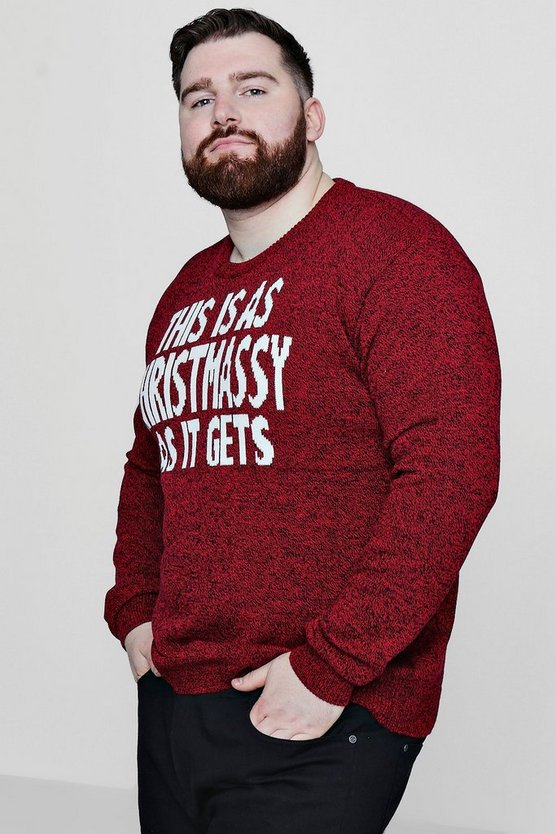 Big And Tall Christmas Red Marl Slogan Jumper